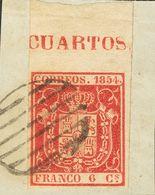Fragmento 6 Cuartos Carmín, Borde De Hoja Con Leyenda, Sobre Fragmento. MAGNIFICO Y ESPECTACULAR. - Spain