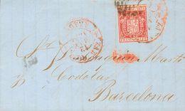 Sobre 1854. 6 Cuartos Carmín. ZARAGOZA A BARCELONA. Matasello Mixto PARRILLA Y Baeza ZARAGOZA / ARAGON, En Rojo. MAGNIFI - Spain