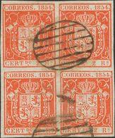 º 25(4). 2 Reales Rojo, Bloque De Cuatro. MAGNIFICO Y MUY RARO, PIEZA DE ENORME BELLEZA. (Edifil 2014: 895€) - Spain