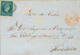 Sobre 1855. 1 Real Azul Verdoso. MATARO A LA HABANA (CUBA). MAGNIFICA. - Spagna