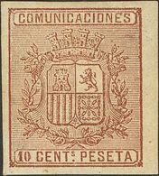 * 153s. 10 Cts Castaño, Borde De Hoja. SIN DENTAR. MAGNIFICO. (Edifil 2018: 117€) - Spagna