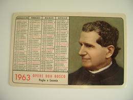 1963  OPERE DON BOSCO S. GIOVANNI BOSCO JOANNES BOSCO  Puglia E Lucania  Con Motto   Calendarietto Religioso   RELIGIONE - Calendriers