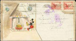 "Sobre 818(2). 1939. 10 Cts Rojo, Dos Sellos. Sobre (decorado A Mano) Con Dibujo De ""Mickey Mouse"" Correo Interior De MAD - Spain"