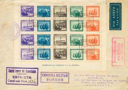 Sobre 1938. Hoja Bloque. Certificado De BURGOS A SALAMANCA (falta Una Solapa Trasera Sin Importancia). MAGNIFICA Y MUY R - Spain