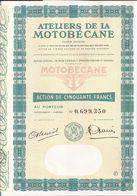 Action ATELIERS De La MOTOBECANE (5) - PANTIN (Seine-Saint-Denis) - 50 Francs  - Présence De 13 Coupons - Mobylette - Transports