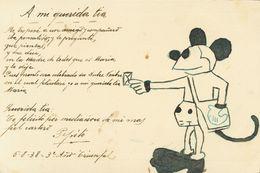 Sobre 1938. Tarjeta Postal Militar Dirigida A SEVILLA. Marca De Franquicia REGIMIENTO DE INFANTERIA GRANADA NUM. 6 / 5º  - Spain