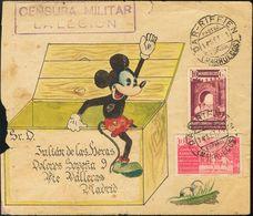"""Sobre 1941. 40 Cts Castaño Lila Y 10 Cts Rosa De Beneficencia. Sobre (decorado A Mano) Con Dibujo De """"Mickey Mouse"""" De D - Spain"""