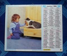 CALENDRIER - Almanach OBERTHUR  1990 -  Enfants Et Chat - Au Verso : Fillette Avec Chats   - Dpt 66 - Big : 1981-90