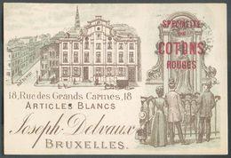 CARTE PRECURSEUR Litho Multicolore Joseph DELVAUX Spécialité De Cotons Rouges 18 Rue Des Grand Carmes Articles Blancs à - België