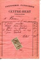 63.PUY  DE DOME.ISSOIRE.CONFISERIE.PATISSERIE.CEYTRE-BERT.FACTURETTE. - Food