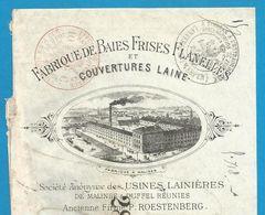 (B004) Belgique - Fabrique Baies Frises Flanelles Couvertures Laine - Firme Roetsenberg - Malines & Duffel - 7/12/1895 - Textile & Vestimentaire