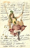 [DC11406] CPA - DONNA SU ALTALENA CON MAIALINO - PORTAFORTUN - PERFETTA - Viaggiata 1904 - Old Postcard - Cartoline