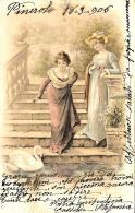 [DC11409] CPA - DONNE CHE SCENDONO DALLE SCALE - CIGNO - PERFETTA - Viaggiata 1906 - Old Postcard - Cartoline