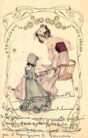 [DC11412] CPA - DONNA SEDUTA SU SEGGIOLA CON BAMBINA CHE LEGGE - RARA - PERFETTA - Viaggiata 1903 - Old Postcard - Cartoline