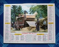 BEAU CALENDRIER Dpt 45 - LOIRET -  Almanach 1987 Des P.T.T  - Battages Dans Le Sud-Ouest  Et Paysages Du Centre - Calendars