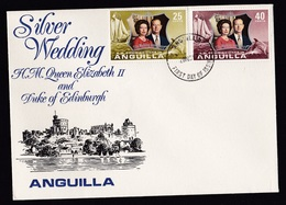 Anguilla: FDC First Day Cover, 1972, 2 Stamps, Royal Wedding Anniversary, Silver Wedding (traces Of Use) - Anguilla (1968-...)