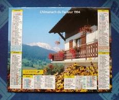 CALENDRIER Dpt 77 -SEINE ET MARNE -  Almanach Du Facteur 1994 LA POSTE - ENVIRONS DE MEGEVE Et Baie De TALLOIRE - Big : 1981-90