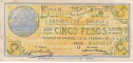 BILLETE DE MEXICO DE 5 PESOS DEL ESTADO DE OAXACA DEL 10 DE FEBRERO DEL 1916  (BANKNOTE) RARO - México