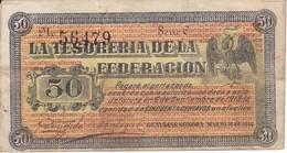 BILLETE DE MEXICO DE 50 CENTAVOS DEL AÑO 1914  TESORERIA FEDERACION (BANKNOTE) - México