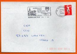 15 AURILLAC  AU PAYS DES VOLCANS  1996 Lettre Coupée N° GG 217 - Postmark Collection (Covers)