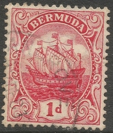Bermuda. 1910-25 Ship. 1d Used. Red. Mult Crown CA W/M SG 47 - Bermuda
