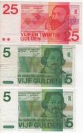 Nederland The Nethelands 2 Billets De 5 Gulden Et 1 De 25 Gulden - Zonder Classificatie