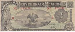 BILLETE DE MEXICO DE 1 PESO DEL AÑO 1916 - B  -GOBIERNO PROVISIONAL (BANKNOTE) - México