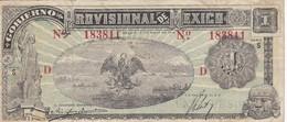BILLETE DE MEXICO DE 1 PESO DEL AÑO 1916 - D  -GOBIERNO PROVISIONAL (BANKNOTE) - México