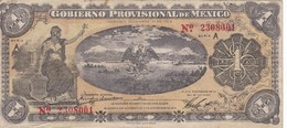 BILLETE DE MEXICO DE 1 PESO DEL AÑO 1914 GOBIERNO PROVISIONAL (BANKNOTE) - México