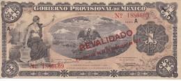 BILLETE DE MEXICO DE 1 PESO DEL AÑO 1914 GOBIERNO PROVISIONAL (BANKNOTE) REVALIDADO POR DECRETO - México