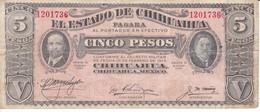 BILLETE DE MEXICO DE 5 PESOD DEL AÑO 1915 ESTADO DE CHIHUAHUA (BANKNOTE) - México