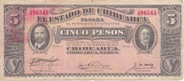 BILLETE DE MEXICO DE 5 PESOS DEL AÑO 1914 ESTADO DE CHIHUAHUA (BANKNOTE) - Mexique