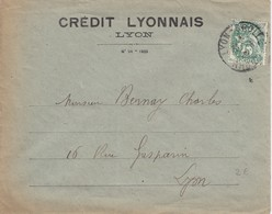 FRANCE - LETTRE CREDIT LYONNAIS LYON  20.6.1926 - BLANC 5c SEUL SUR LETTRE / 2 - Postmark Collection (Covers)
