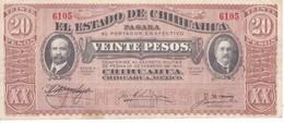 BILLETE DE MEXICO DE 20 PESOS DEL AÑO 1915 ESTADO DE CHIHUAHUA CALIDAD EBC (XF) (BANKNOTE) - México