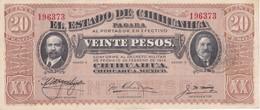 BILLETE DE MEXICO DE 20 PESOS DEL AÑO 1914 ESTADO DE CHIHUAHUA CALIDAD EBC (XF) (BANKNOTE) - México