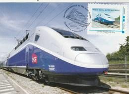 Carte Maximum MonTimbraMoi 2011 - TGV Rhin Rhône Besançon - Train - Cartes-Maximum