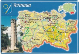 Estonia, Map Of Vorumaa Province With Roads And Cities, C1990s/2000s Vintage Postcard - Estonia