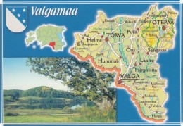 Estonia, Map Of Valgamaa Province With Roads And Cities, C1990s/2000s Vintage Postcard - Estonia