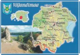 Estonia, Map Of Viljandimaa Province With Roads And Cities, C1990s/2000s Vintage Postcard - Estonia