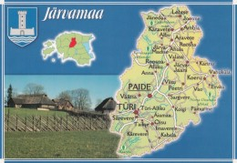 Estonia, Map Of Jarvamaa Province With Roads And Cities Paide Turi, C1990s/2000s Vintage Postcard - Estonie