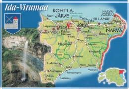 Estonia, Map Of Ida-Virumaa Province With Roads And Cities Kohtla-Jarve, Narva, C1990s/2000s Vintage Postcard - Estonia