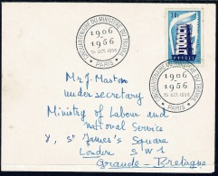 RB 1188 - 1956 30f Cover - France To GB Labour Under Secretary London - Special Cancel - France