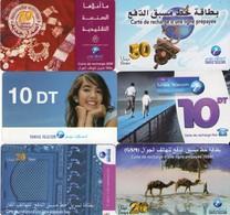 LOTE DE 6 TARJETAS TELEFONICAS DE TUNEZ (PREPAGO) (086) - Tunisia