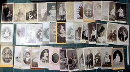 ENFANTS BEBES ADOLESCENTS 44 PHOTOS FORMAT CARTES DE VISITE ANNEES 1900 JOUETS CERCEAUX BARBOTEUSE PEDAGOGIE  4 SCAN - Non Classés