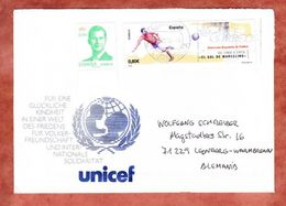 Brief, Illustrierter Umschlag, MiF Fussball U.a., Zaragoza Nach Leonberg 2015 (45753) - 1931-Heute: 2. Rep. - ... Juan Carlos I