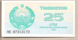 Uzbekistan - Banconota Non Circolata FdS Da 25 Som P-65a - 1992 - Uzbekistan