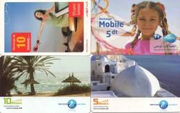 LOTE DE 4 TARJETAS TELEFONICAS DE TUNEZ (PREPAGO) (083) - Tunisia