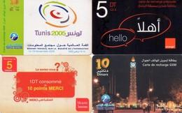 LOTE DE 4 TARJETAS TELEFONICAS DE TUNEZ (PREPAGO) (087) - Tunisia