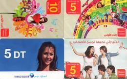 LOTE DE 4 TARJETAS TELEFONICAS DE TUNEZ (PREPAGO) (088) - Tunisia