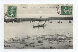 PECHEURS EN BARQUE RARE VISUEL CPA 1909 YVELINES VILLENNES ANIME LA PECHE CHEZ JALLABERT BE - Villennes-sur-Seine